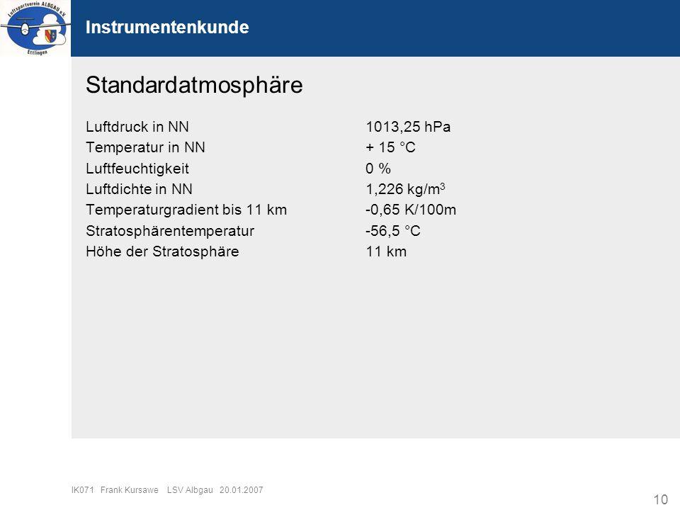 10 IK071 Frank Kursawe LSV Albgau 20.01.2007 Instrumentenkunde Standardatmosphäre Luftdruck in NN1013,25 hPa Temperatur in NN+ 15 °C Luftfeuchtigkeit0