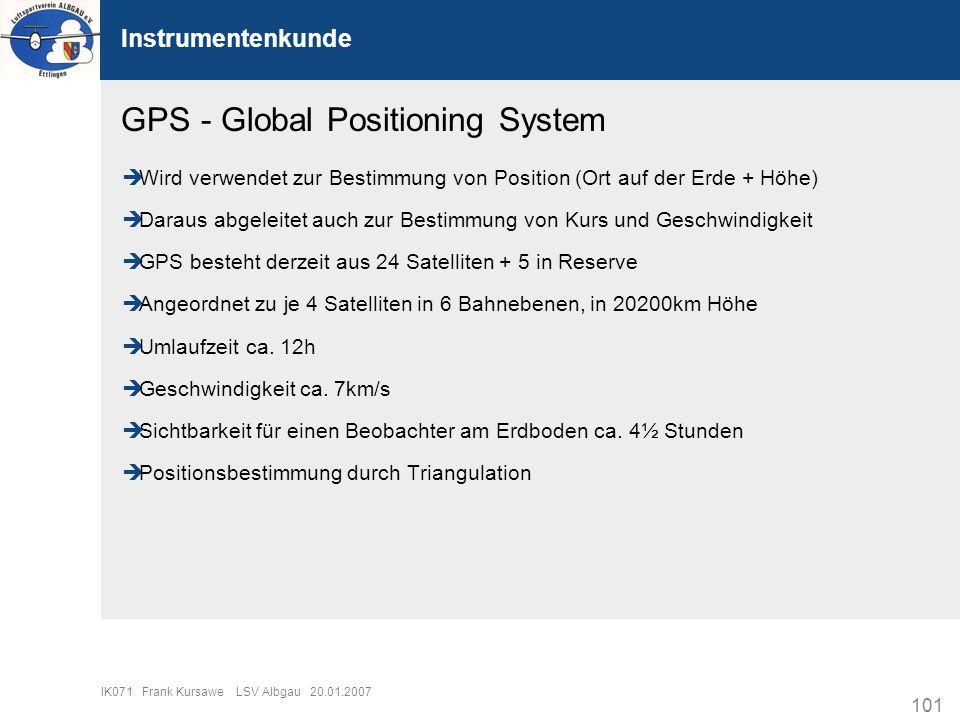 101 IK071 Frank Kursawe LSV Albgau 20.01.2007 Instrumentenkunde GPS - Global Positioning System Wird verwendet zur Bestimmung von Position (Ort auf de