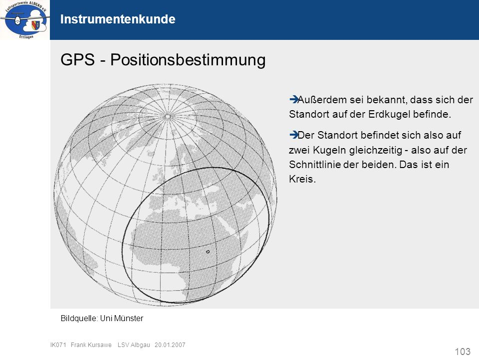 103 IK071 Frank Kursawe LSV Albgau 20.01.2007 Instrumentenkunde GPS - Positionsbestimmung Außerdem sei bekannt, dass sich der Standort auf der Erdkuge