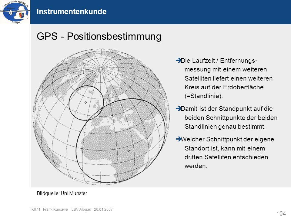 104 IK071 Frank Kursawe LSV Albgau 20.01.2007 Instrumentenkunde GPS - Positionsbestimmung Die Laufzeit / Entfernungs- messung mit einem weiteren Satel
