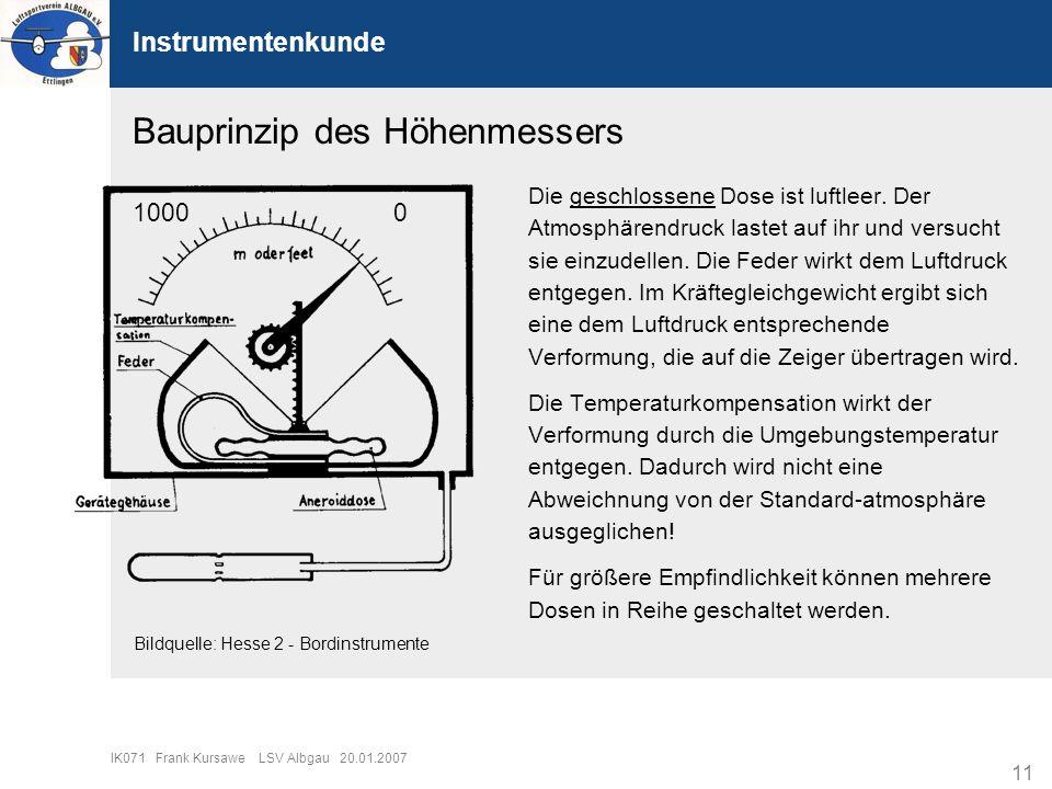 11 IK071 Frank Kursawe LSV Albgau 20.01.2007 Instrumentenkunde Bauprinzip des Höhenmessers Die geschlossene Dose ist luftleer. Der Atmosphärendruck la
