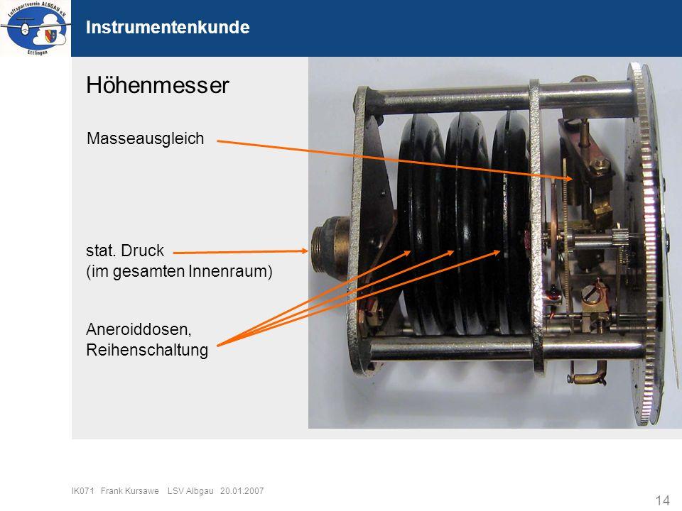 14 IK071 Frank Kursawe LSV Albgau 20.01.2007 Instrumentenkunde stat. Druck (im gesamten Innenraum) Aneroiddosen, Reihenschaltung Masseausgleich Höhenm