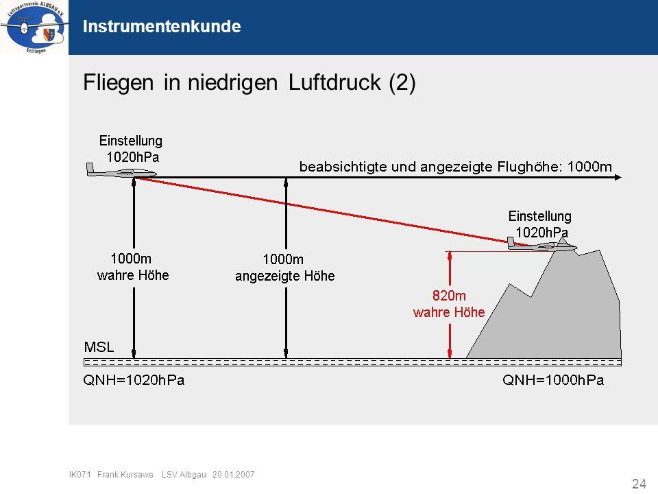 24 IK071 Frank Kursawe LSV Albgau 20.01.2007 Instrumentenkunde Fliegen in niedrigen Luftdruck (2)
