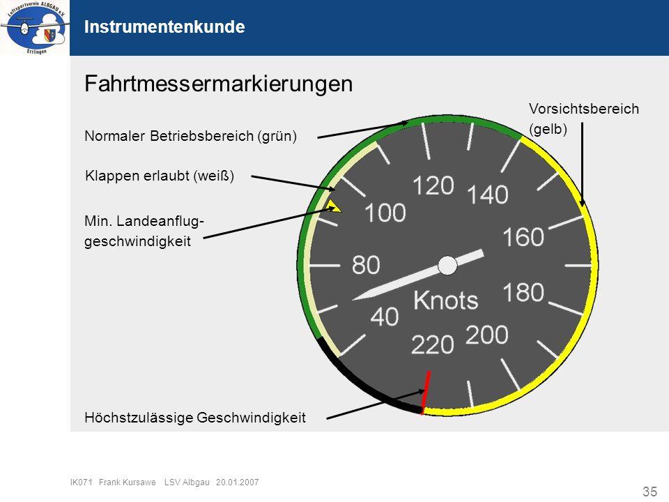 35 IK071 Frank Kursawe LSV Albgau 20.01.2007 Instrumentenkunde Fahrtmessermarkierungen Normaler Betriebsbereich (grün) Klappen erlaubt (weiß) Min. Lan