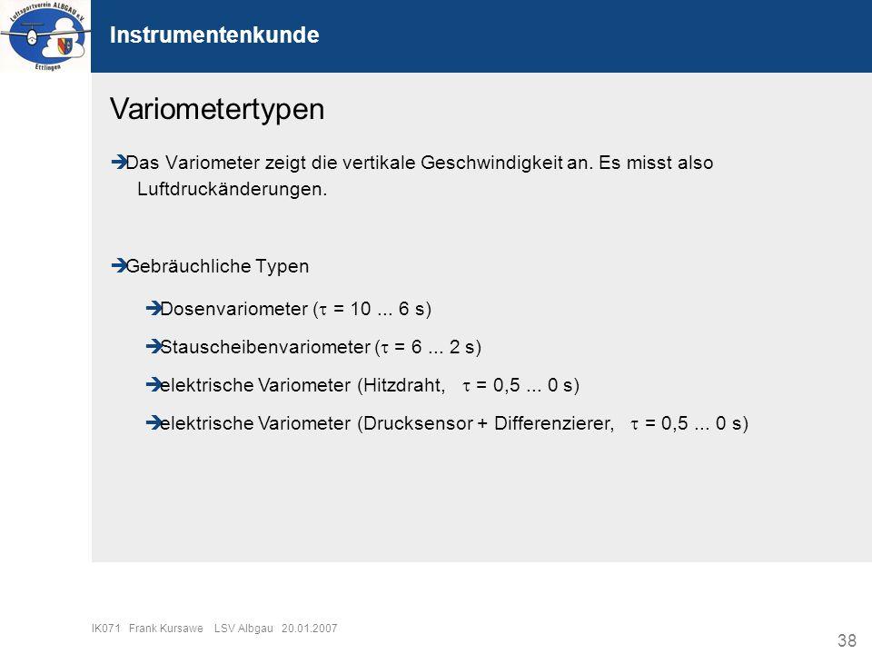 38 IK071 Frank Kursawe LSV Albgau 20.01.2007 Instrumentenkunde Variometertypen Das Variometer zeigt die vertikale Geschwindigkeit an. Es misst also Lu