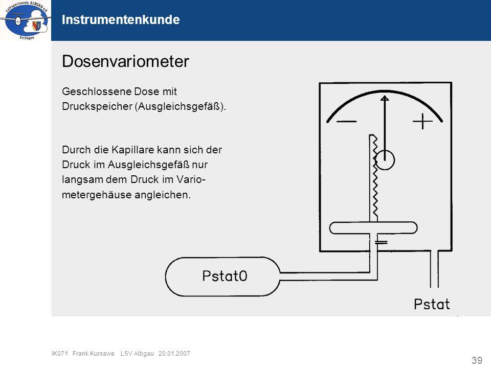 39 IK071 Frank Kursawe LSV Albgau 20.01.2007 Instrumentenkunde Dosenvariometer Geschlossene Dose mit Druckspeicher (Ausgleichsgefäß). Durch die Kapill