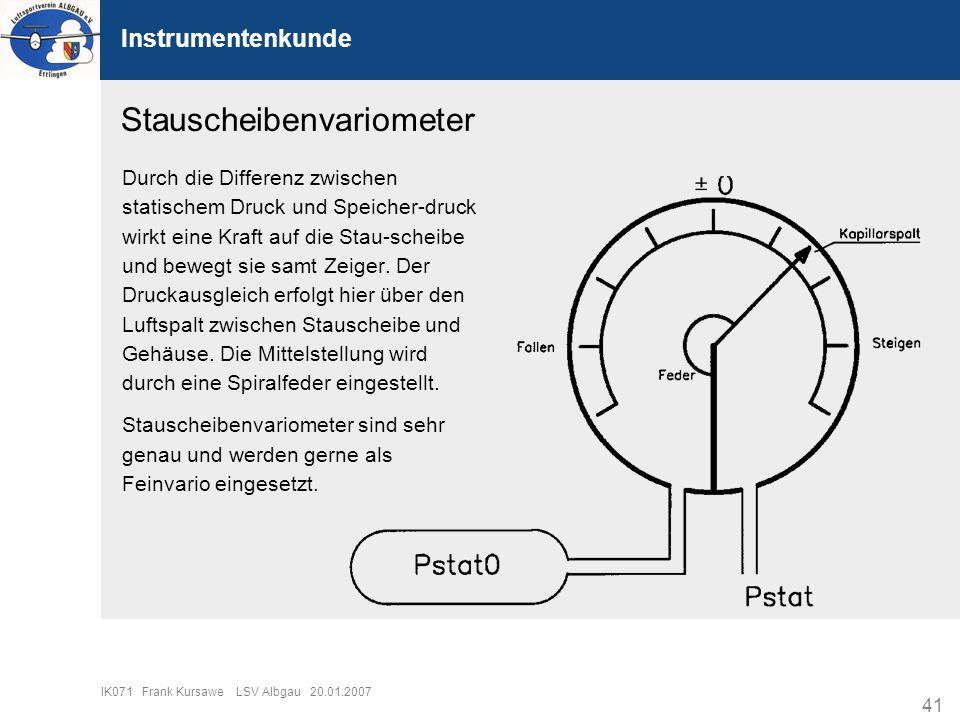 41 IK071 Frank Kursawe LSV Albgau 20.01.2007 Instrumentenkunde Stauscheibenvariometer Durch die Differenz zwischen statischem Druck und Speicher-druck