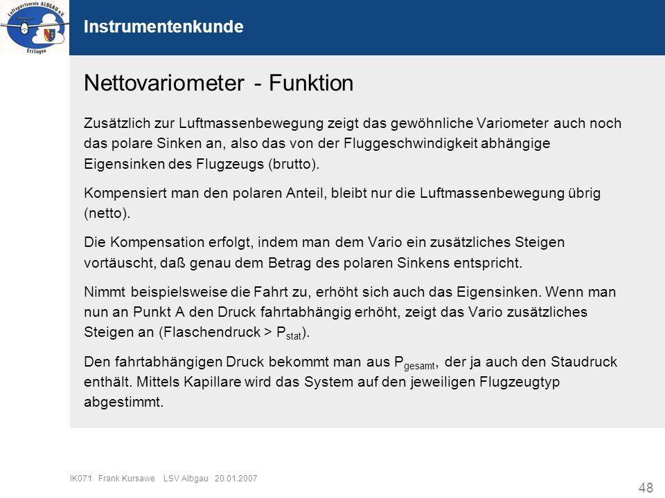 48 IK071 Frank Kursawe LSV Albgau 20.01.2007 Instrumentenkunde Nettovariometer - Funktion Zusätzlich zur Luftmassenbewegung zeigt das gewöhnliche Vari