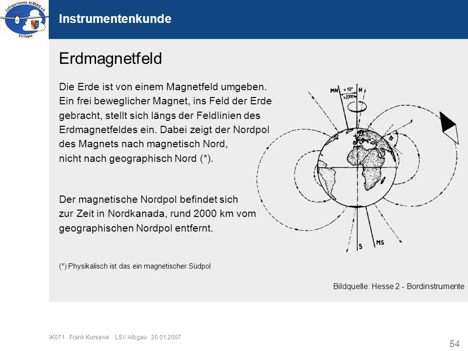 54 IK071 Frank Kursawe LSV Albgau 20.01.2007 Instrumentenkunde Erdmagnetfeld Die Erde ist von einem Magnetfeld umgeben. Ein frei beweglicher Magnet, i