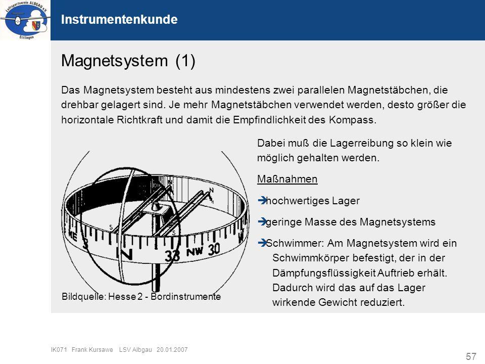 57 IK071 Frank Kursawe LSV Albgau 20.01.2007 Instrumentenkunde Magnetsystem (1) Das Magnetsystem besteht aus mindestens zwei parallelen Magnetstäbchen