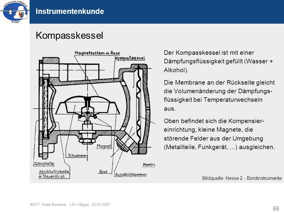 59 IK071 Frank Kursawe LSV Albgau 20.01.2007 Instrumentenkunde Kompasskessel Der Kompasskessel ist mit einer Dämpfungsflüssigkeit gefüllt (Wasser + Al