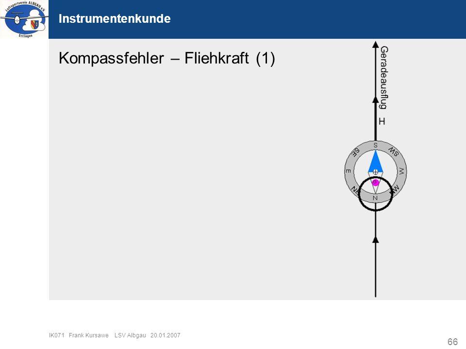 66 IK071 Frank Kursawe LSV Albgau 20.01.2007 Instrumentenkunde Kompassfehler – Fliehkraft (1)