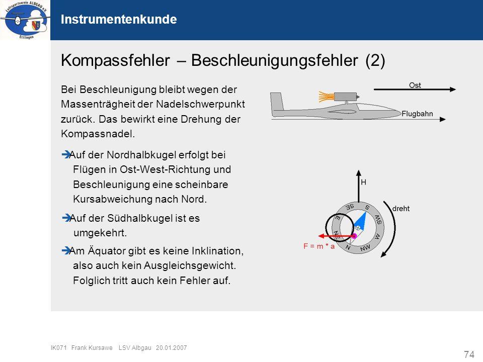 74 IK071 Frank Kursawe LSV Albgau 20.01.2007 Instrumentenkunde Kompassfehler – Beschleunigungsfehler (2) Bei Beschleunigung bleibt wegen der Massenträ
