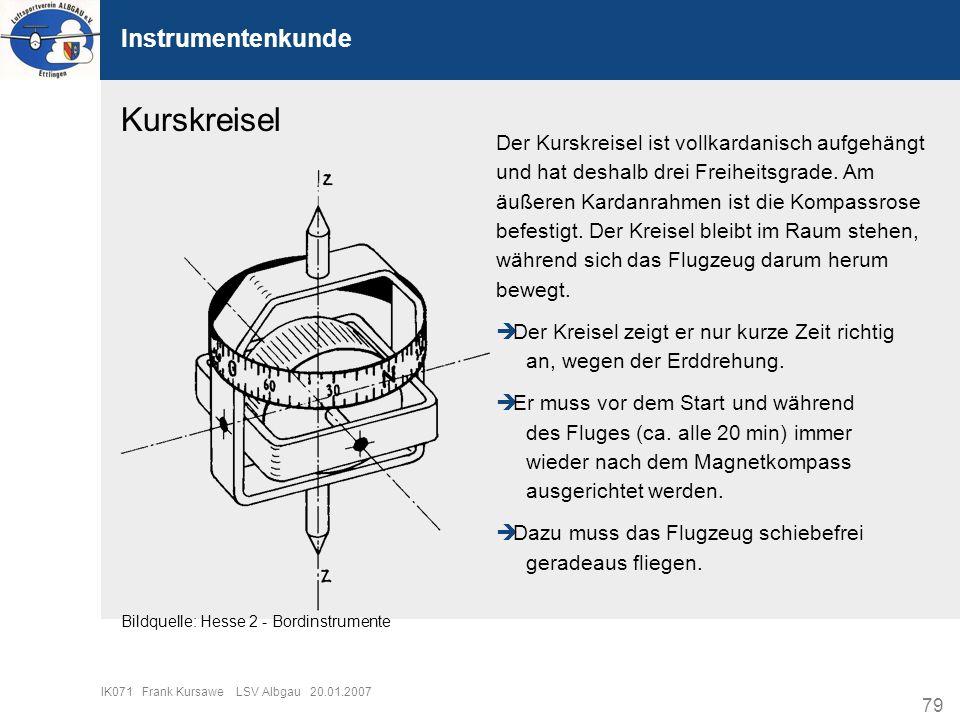 79 IK071 Frank Kursawe LSV Albgau 20.01.2007 Instrumentenkunde Kurskreisel Der Kurskreisel ist vollkardanisch aufgehängt und hat deshalb drei Freiheit