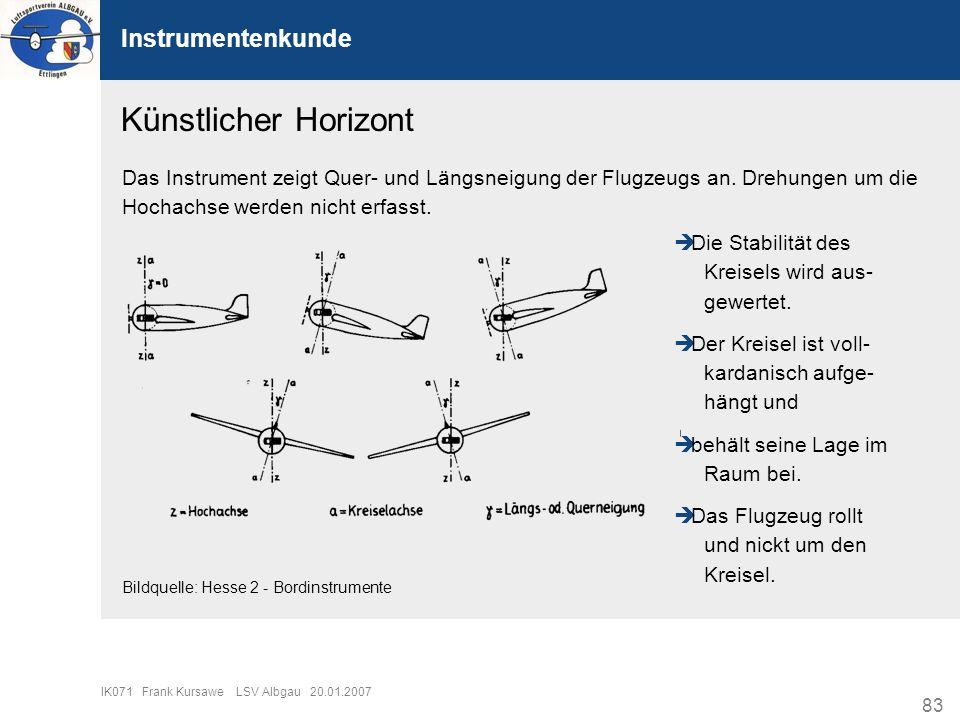 83 IK071 Frank Kursawe LSV Albgau 20.01.2007 Instrumentenkunde Künstlicher Horizont Das Instrument zeigt Quer- und Längsneigung der Flugzeugs an. Dreh