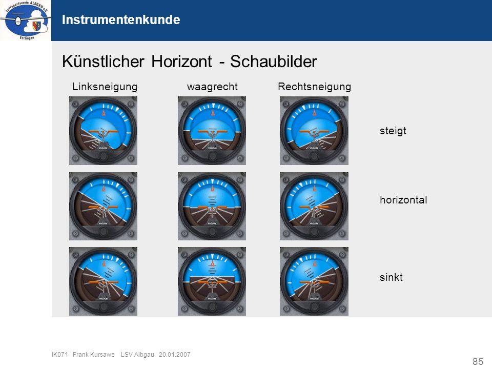 85 IK071 Frank Kursawe LSV Albgau 20.01.2007 Instrumentenkunde Künstlicher Horizont - Schaubilder LinksneigungwaagrechtRechtsneigung steigt horizontal