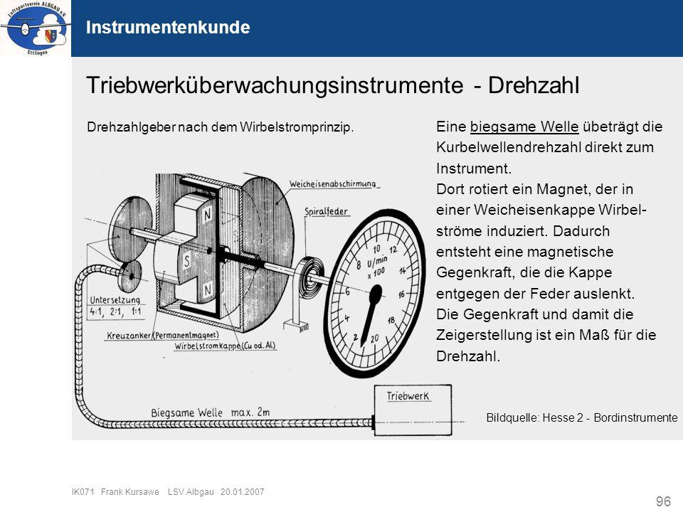 96 IK071 Frank Kursawe LSV Albgau 20.01.2007 Instrumentenkunde Triebwerküberwachungsinstrumente - Drehzahl Eine biegsame Welle übeträgt die Kurbelwell