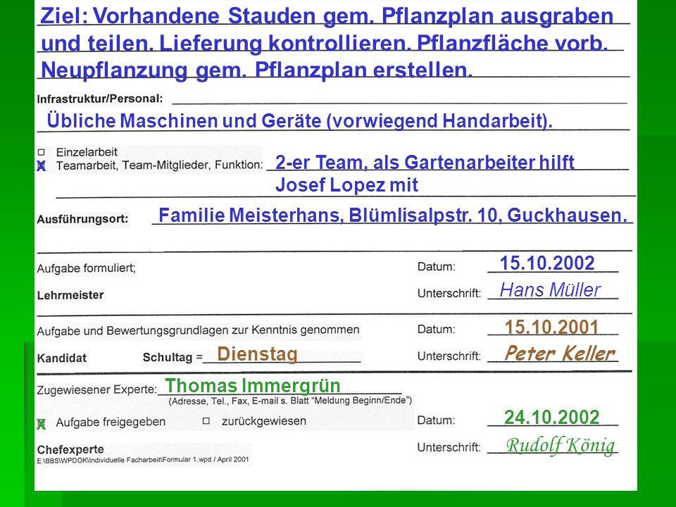 Übliche Maschinen und Geräte (vorwiegend Handarbeit). x 2-er Team, als Gartenarbeiter hilft Josef Lopez mit 15.10.2002 Hans Müller 15.10.2001 Peter Ke