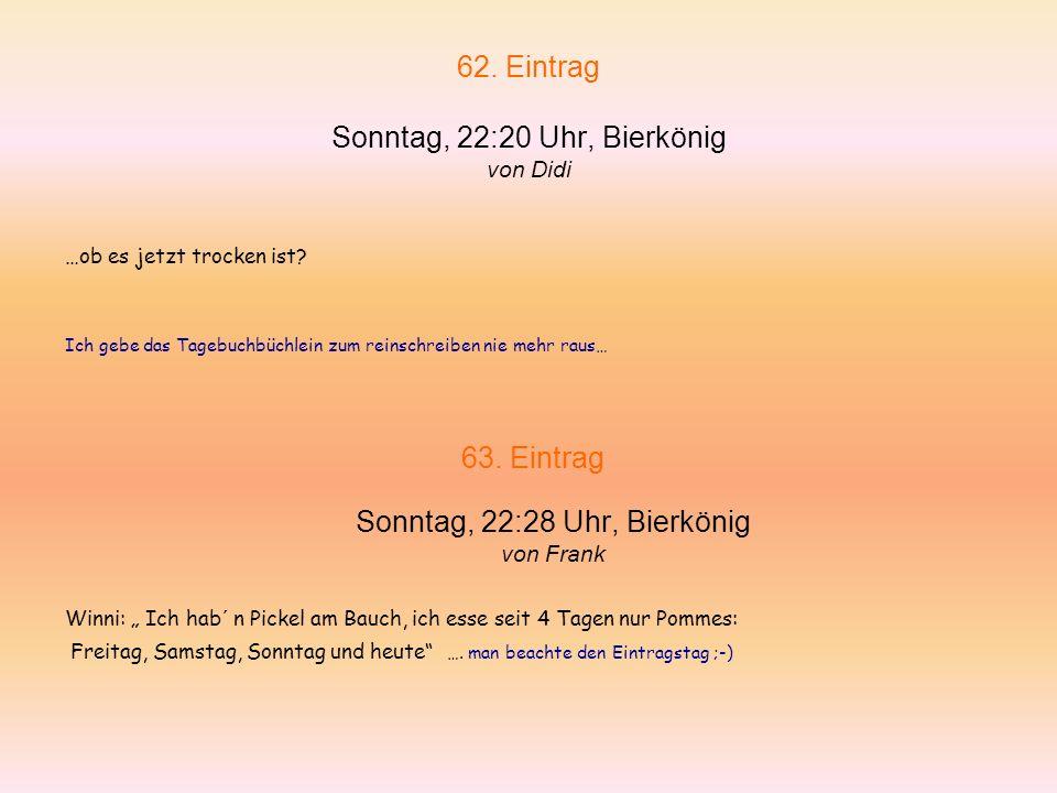 60.Eintrag Sonntag, 22:00 Uhr, Bierkönig von Frank Winni: Die Zijarr wohr im Korridor..