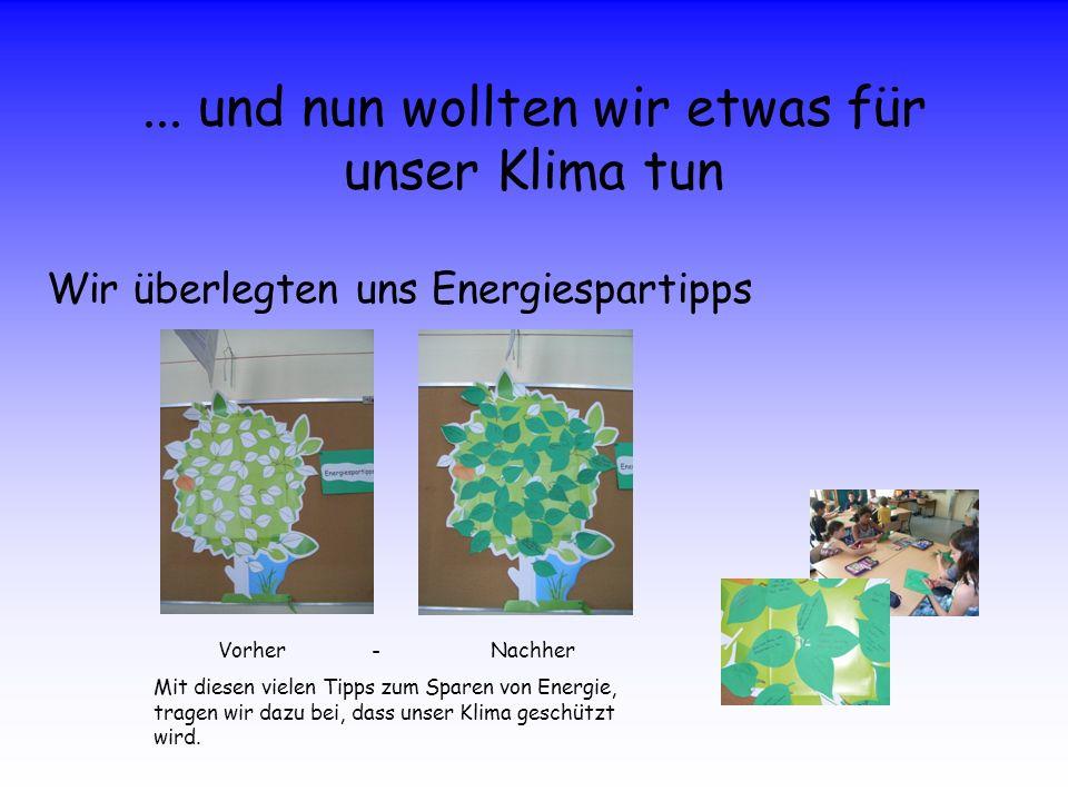 ... und nun wollten wir etwas für unser Klima tun Wir überlegten uns Energiespartipps Vorher - Nachher Mit diesen vielen Tipps zum Sparen von Energie,
