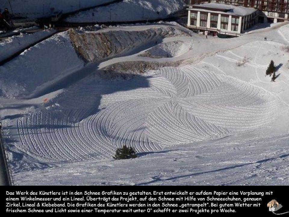 LES ARCS Simon Beck kommt aus dem Süden von England, arbeitet aber im Les Arcs Skigebiet in den französischen Alpen, wo er ein Haus hat und die meiste