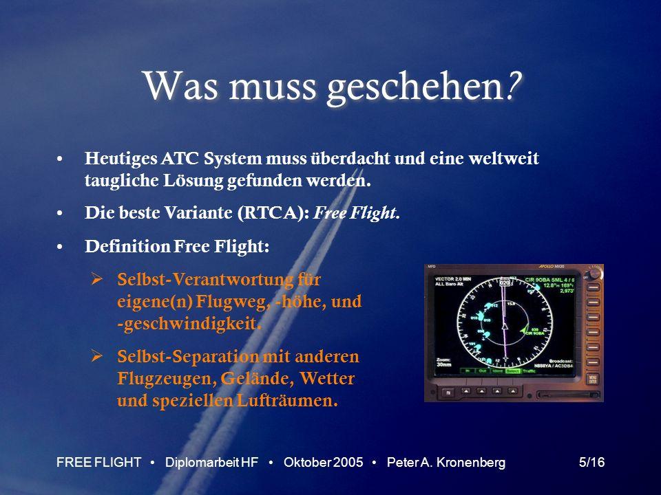 FREE FLIGHT Diplomarbeit HF Oktober 2005 Peter A. Kronenberg5/16 Was muss geschehen ? Heutiges ATC System muss überdacht und eine weltweit taugliche L