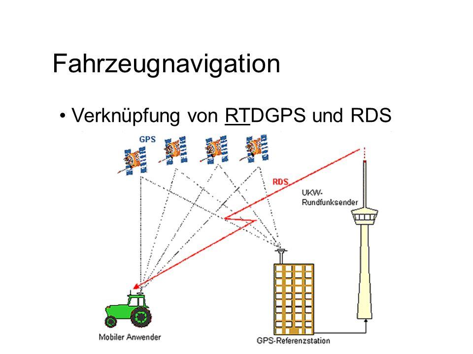 RTCM (EPS) PR-Korrektur und kurzfristige Entwicklung Alter der Korrekturwerte 9-Satelliten mittels RDS in 18 sek.(680 Bit) Datenbearbeitung mit RASANT (333 Bit) Übertragung mit RDS/RASANT in 9 sek.