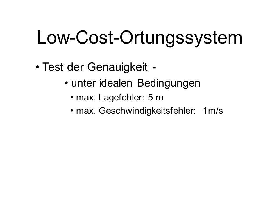 Low-Cost-Ortungssystem Zwei wesentliche Probleme im Einsatz Problem der Satellitenabschattung Bäume, Häuser, etc.