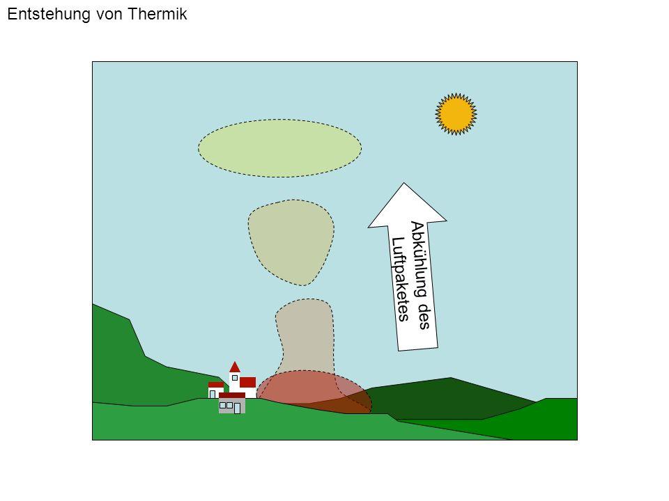 Wolkenuntergrenze Höhe Adiabatische Abkühlung Feuchteverlauf entlang der Sättigungskurve Temperatur am Boden Taupunkt am Boden Wolkenthermik Temperatur/Feuchte