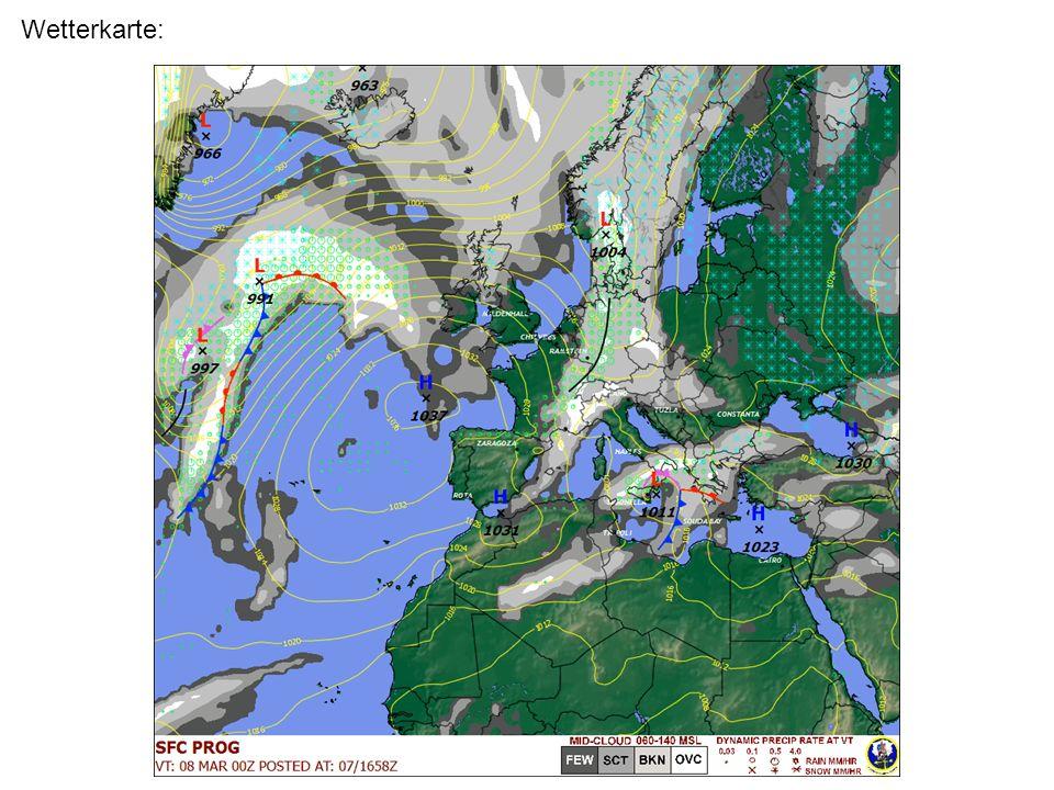 Höhe Aufbau eines Temp-Diagrammes (Teil 1) Temperatur/ Feuchte Taupunktkurve Temperaturkurve Taupunktdifferenz / Spread InversionBodeninversionBereich feuchter Luft: Wolkenbildung wahrscheinlich Tropopause