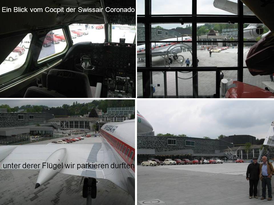 Ein Blick vom Cocpit der Swissair Coronado …unter derer Flügel wir parkieren durften