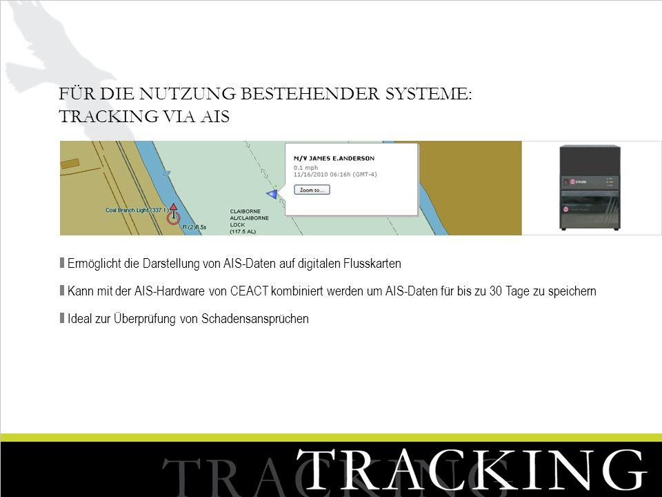 FÜR DIE NUTZUNG BESTEHENDER SYSTEME: TRACKING VIA AIS Ermöglicht die Darstellung von AIS-Daten auf digitalen Flusskarten Kann mit der AIS-Hardware von