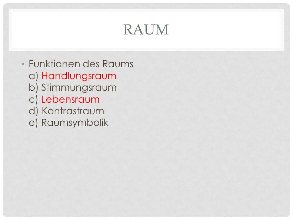 RAUM Funktionen des Raums a) Handlungsraum b) Stimmungsraum c) Lebensraum d) Kontrastraum e) Raumsymbolik