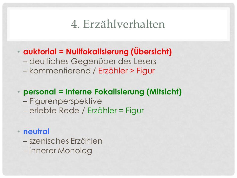 4. Erzählverhalten auktorial = Nullfokalisierung (Übersicht) – deutliches Gegenüber des Lesers – kommentierend / Erzähler > Figur personal = Interne F