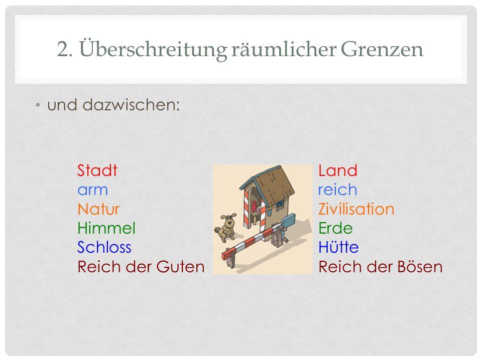 2. Überschreitung räumlicher Grenzen und dazwischen: Stadt–Land arm–reich Natur–Zivilisation Himmel–Erde Schloss–Hütte Reich der Guten–Reich der Bösen