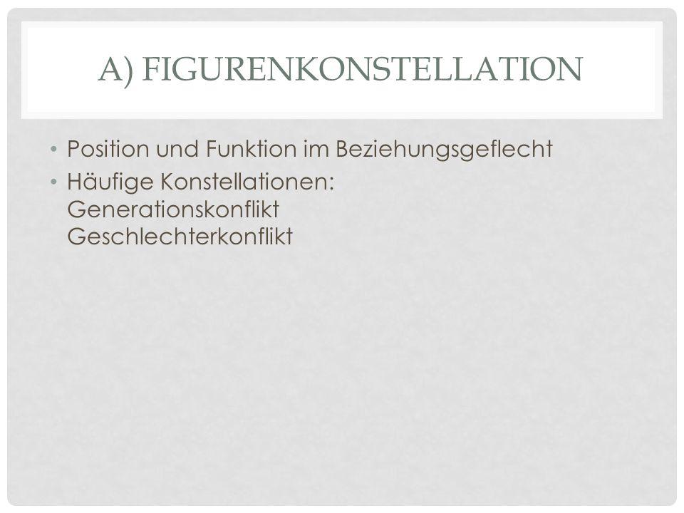 A) FIGURENKONSTELLATION Position und Funktion im Beziehungsgeflecht Häufige Konstellationen: Generationskonflikt Geschlechterkonflikt