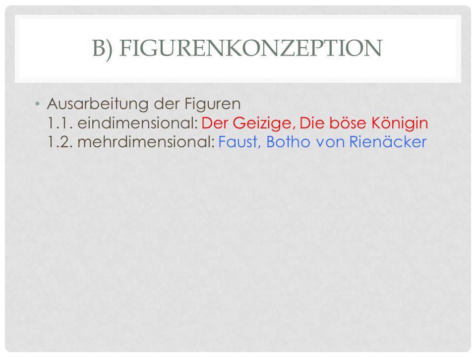 B) FIGURENKONZEPTION Ausarbeitung der Figuren 1.1. eindimensional: Der Geizige, Die böse Königin 1.2. mehrdimensional: Faust, Botho von Rienäcker