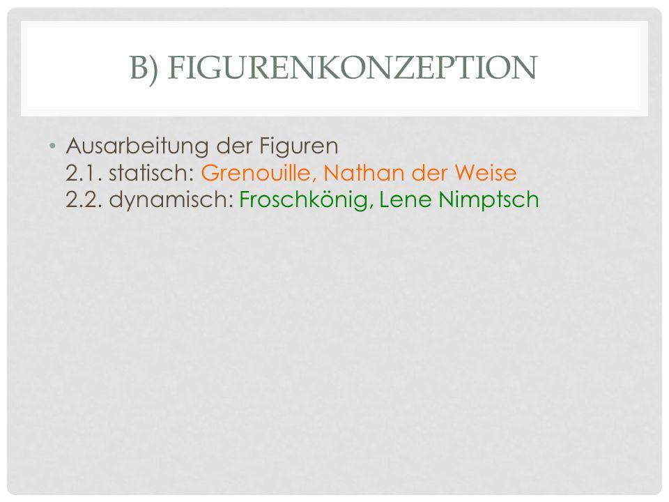 B) FIGURENKONZEPTION Ausarbeitung der Figuren 2.1. statisch: Grenouille, Nathan der Weise 2.2. dynamisch: Froschkönig, Lene Nimptsch