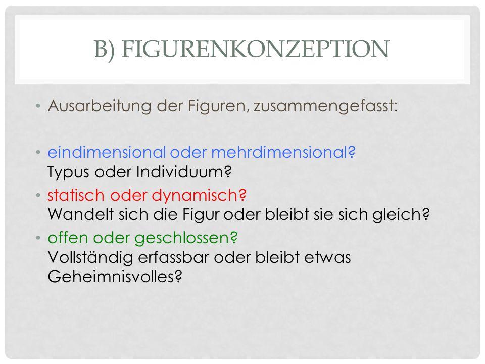 B) FIGURENKONZEPTION Ausarbeitung der Figuren, zusammengefasst: eindimensional oder mehrdimensional? Typus oder Individuum? statisch oder dynamisch? W