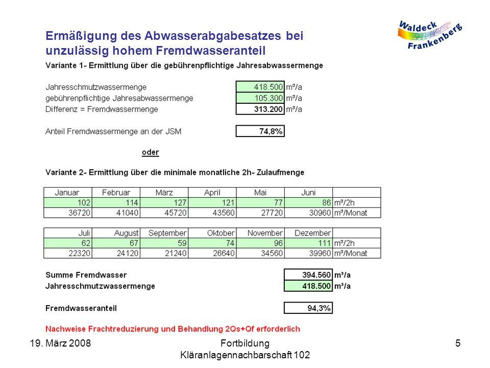 Ermäßigung des Abwasserabgabesatzes bei unzulässig hohem Fremdwasseranteil 19.