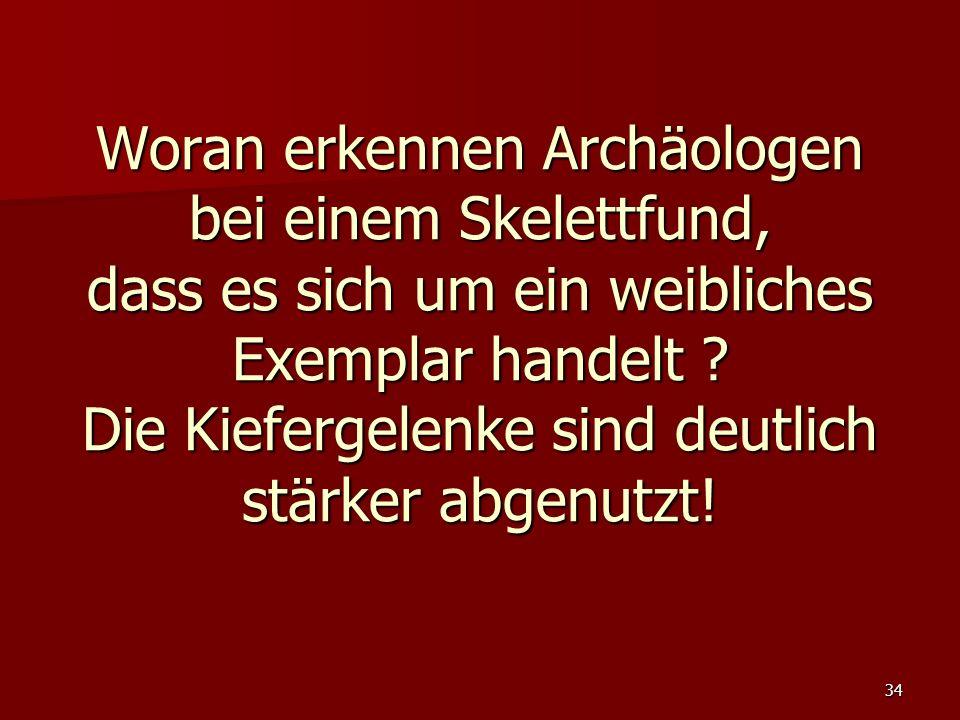 34 Woran erkennen Archäologen bei einem Skelettfund, dass es sich um ein weibliches Exemplar handelt ? Die Kiefergelenke sind deutlich stärker abgenut