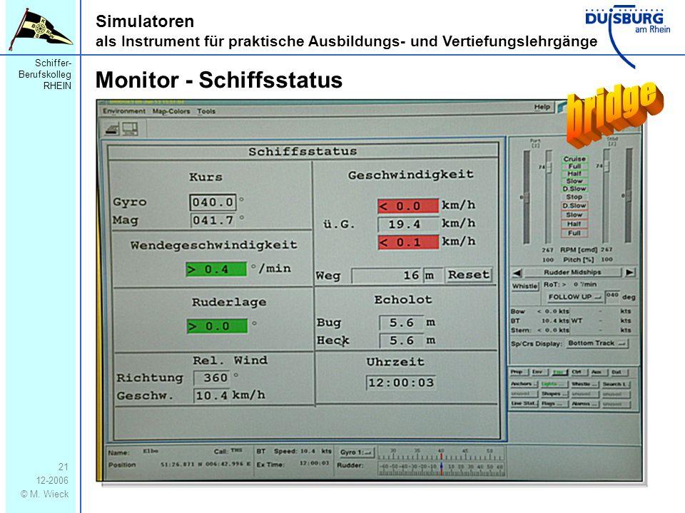 Schiffer- Berufskolleg RHEIN 12-2006 © M. Wieck 21 Simulatoren als Instrument für praktische Ausbildungs- und Vertiefungslehrgänge Monitor - Schiffsst