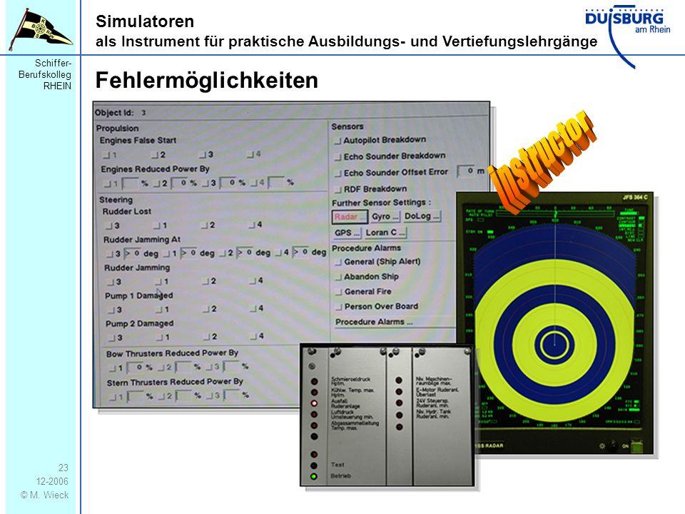 Schiffer- Berufskolleg RHEIN 12-2006 © M. Wieck 23 Simulatoren als Instrument für praktische Ausbildungs- und Vertiefungslehrgänge Fehlermöglichkeiten