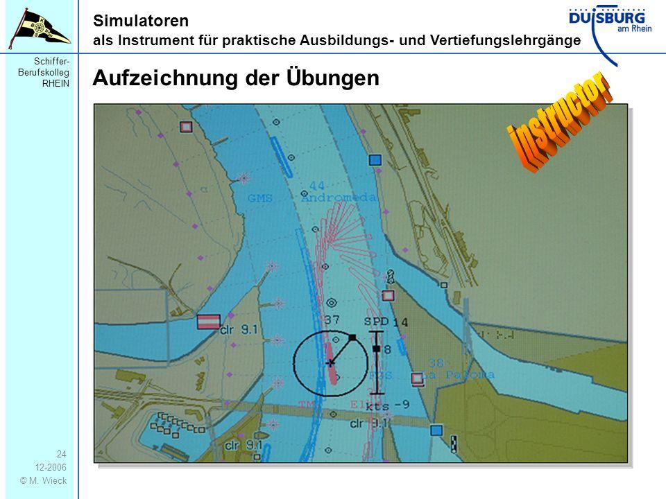 Schiffer- Berufskolleg RHEIN 12-2006 © M. Wieck 24 Simulatoren als Instrument für praktische Ausbildungs- und Vertiefungslehrgänge Aufzeichnung der Üb
