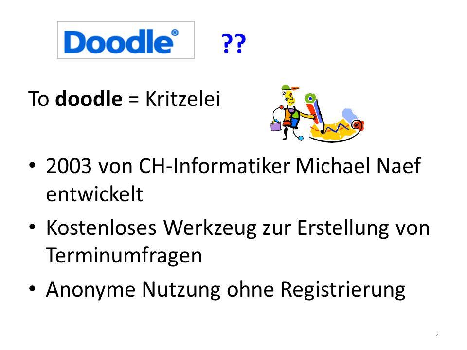 ?? To doodle = Kritzelei 2003 von CH-Informatiker Michael Naef entwickelt Kostenloses Werkzeug zur Erstellung von Terminumfragen Anonyme Nutzung ohne