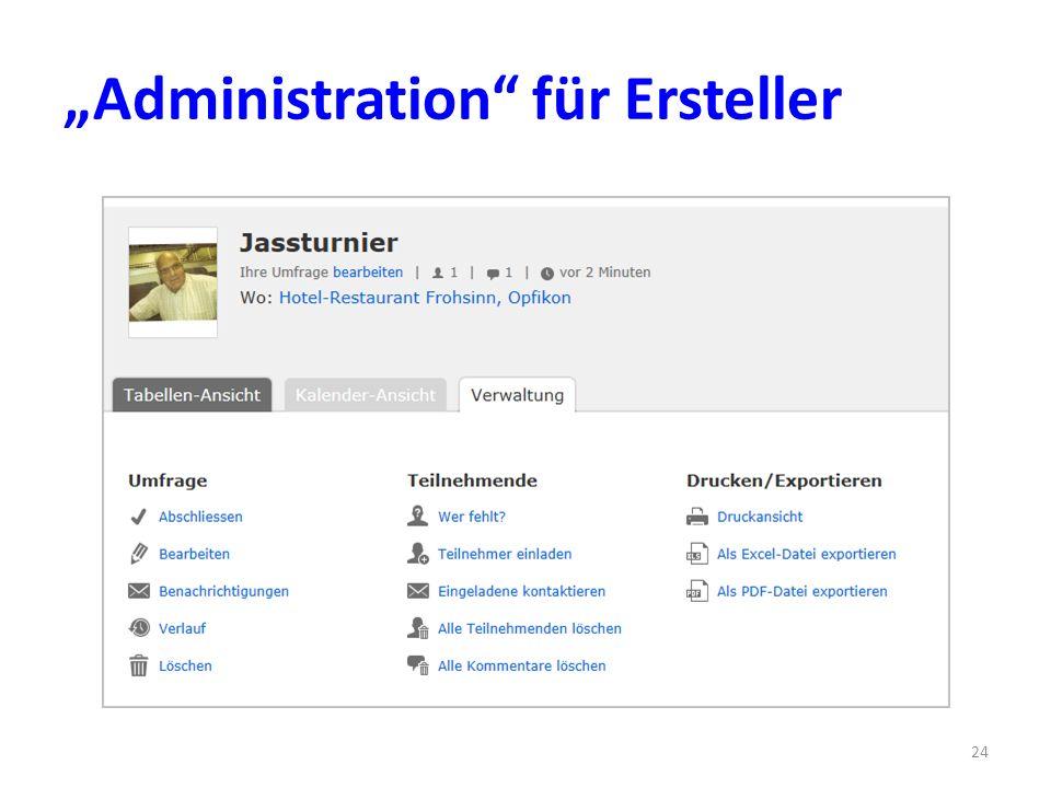 Administration für Ersteller 24