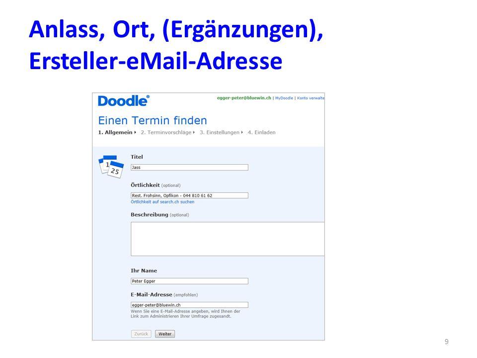 Anlass, Ort, (Ergänzungen), Ersteller-eMail-Adresse 9