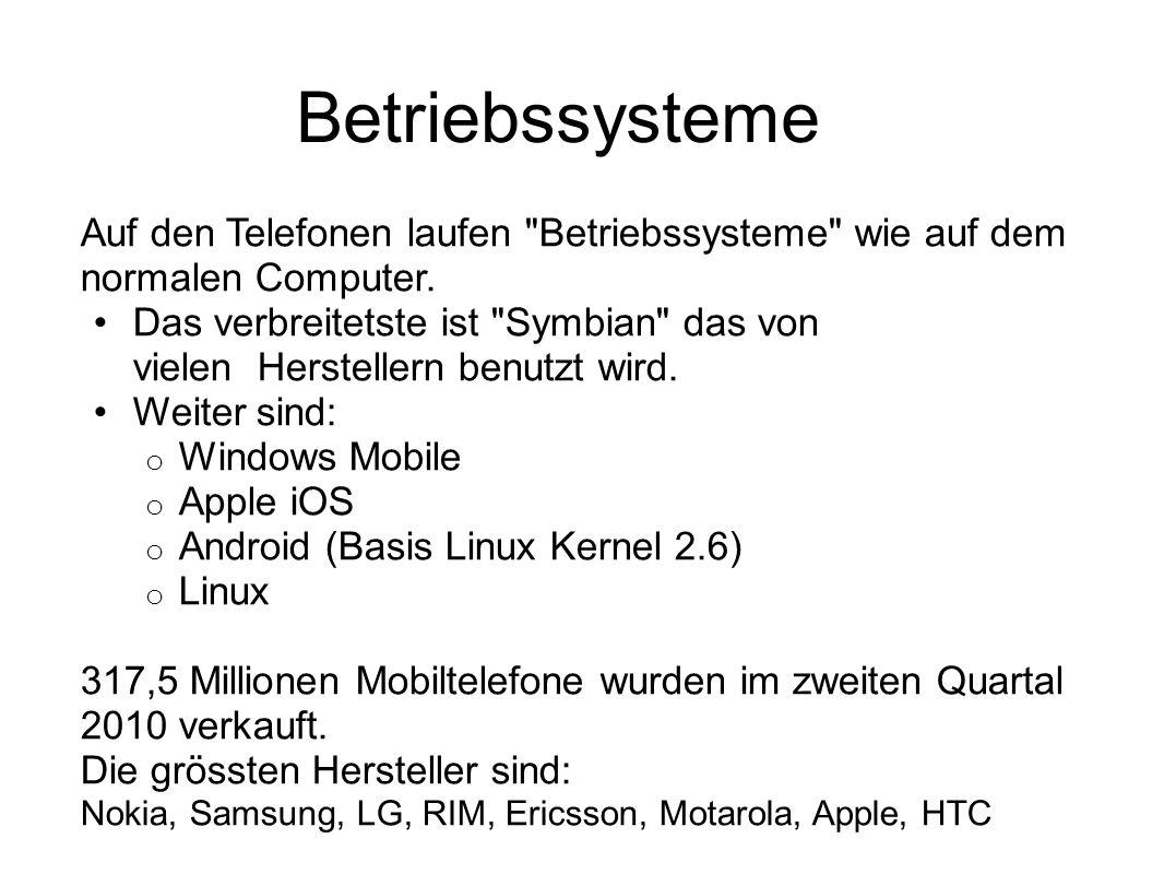Betriebssysteme Auf den Telefonen laufen