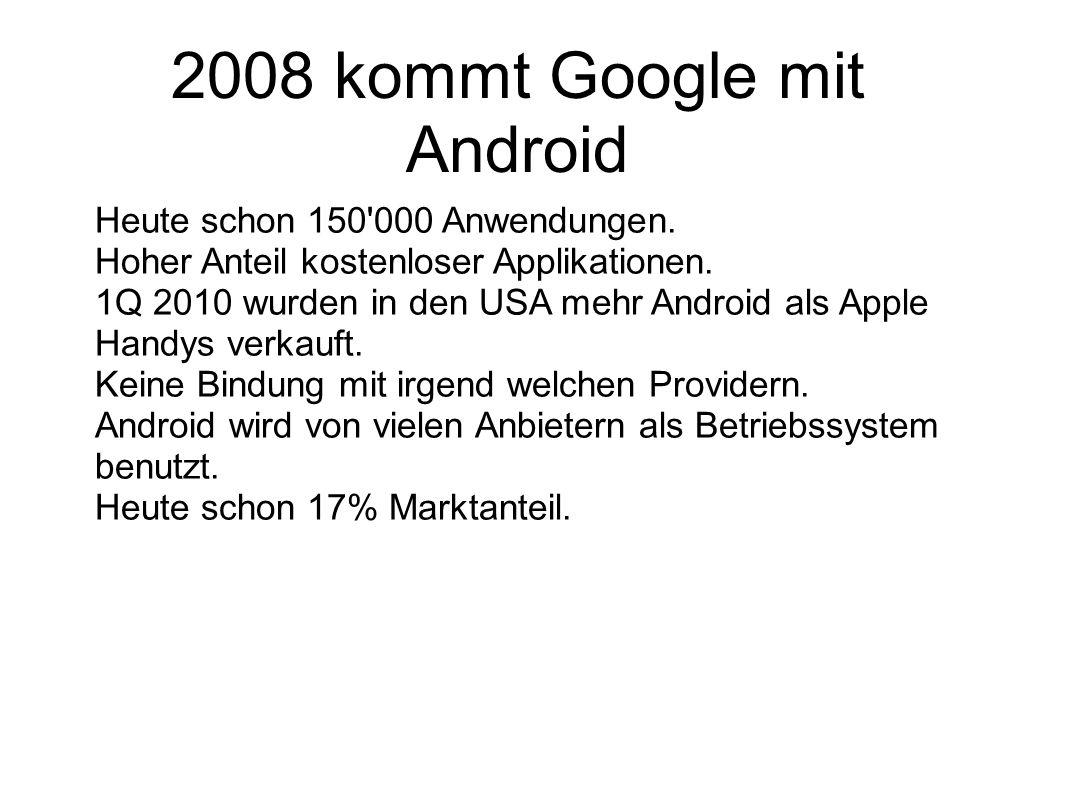 2008 kommt Google mit Android Heute schon 150'000 Anwendungen. Hoher Anteil kostenloser Applikationen. 1Q 2010 wurden in den USA mehr Android als Appl
