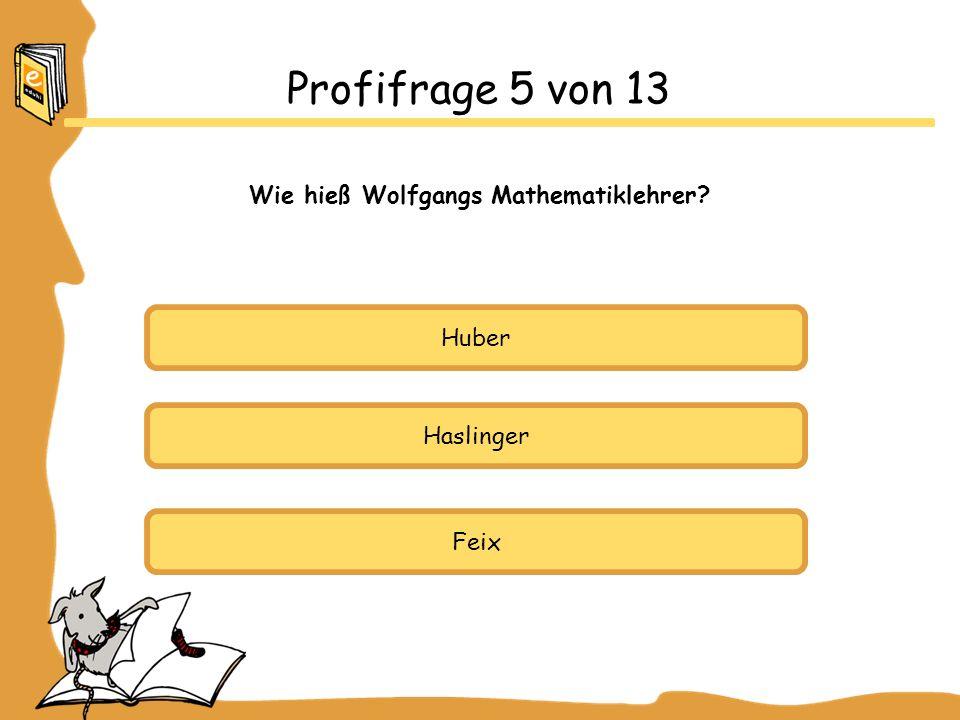 Huber Haslinger Feix Profifrage 5 von 13 Wie hieß Wolfgangs Mathematiklehrer?
